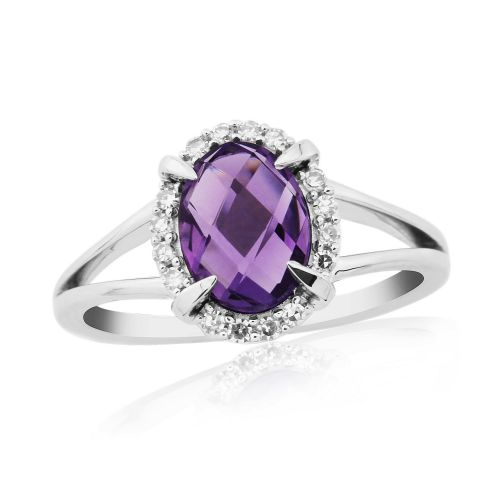 Oval Amethyst And Diamond 9 Carat White Gold Cluster Ring